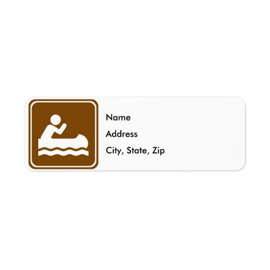 White Water Canoeing Highway Sign Return Address Label