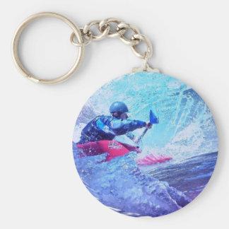 White Water Kayaker Basic Round Button Keychain