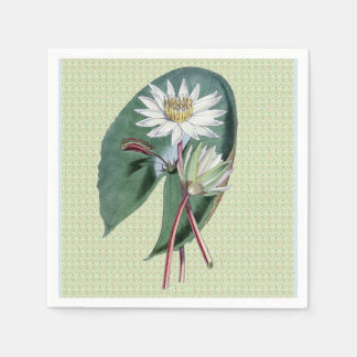 White Water Lilies on Sage Green Paper Napkin