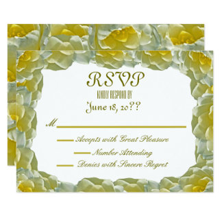 White Water Lilies Wedding RSVP Card