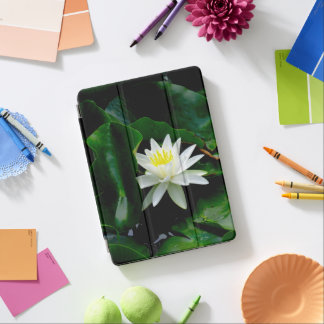 White Water Lily on Emerald Leaves iPad Pro Cover