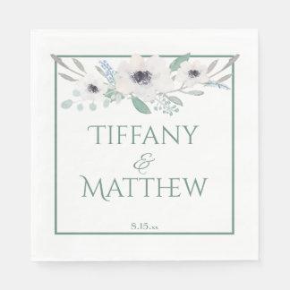 White Watercolor Bouquet Personalized Wedding Disposable Napkin