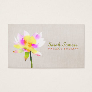 White Watercolor Lotus Holistic NaturalHealth Spa Business Card