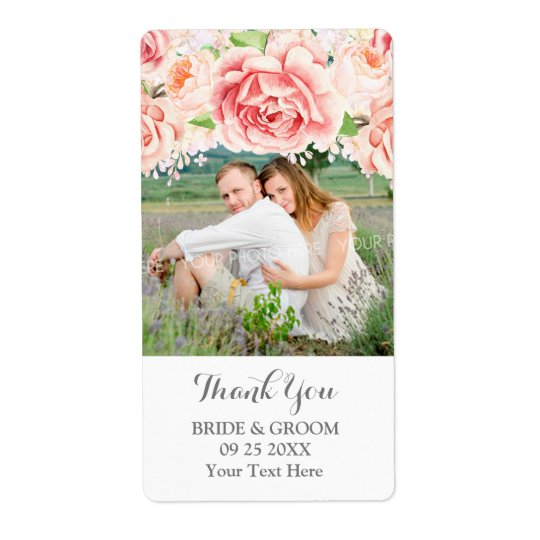 White Watercolor Pink Photo Wedding Label Shipping Label