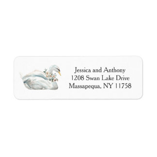 White Watercolor Roses Floral Return Address