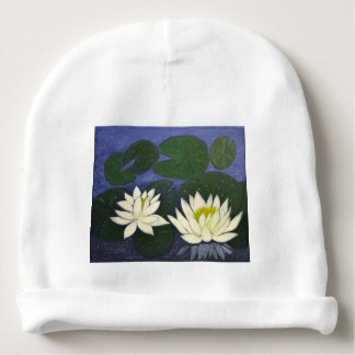 White Waterlily Flowers, Acrylic painting Baby Beanie
