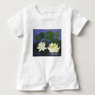 White Waterlily Flowers, Acrylic painting Baby Romper