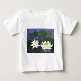 White Waterlily Flowers, Acrylic painting Baby T-Shirt