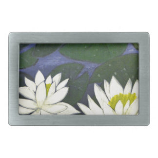 White Waterlily Flowers, Acrylic painting Belt Buckle