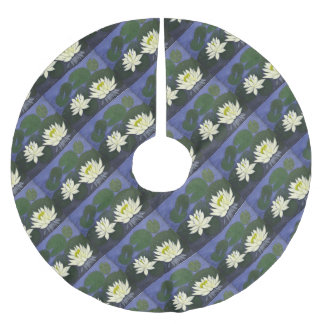 White Waterlily Flowers, Acrylic painting Brushed Polyester Tree Skirt