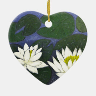 White Waterlily Flowers, Acrylic painting Ceramic Ornament