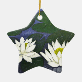 White Waterlily Flowers, Acrylic painting Ceramic Star Ornament