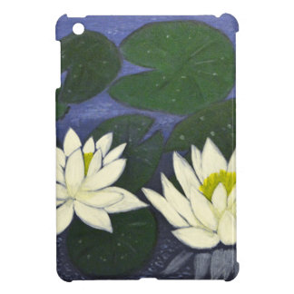 White Waterlily Flowers, Acrylic painting Cover For The iPad Mini