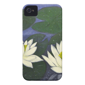 White Waterlily Flowers, Acrylic painting iPhone 4 Cover