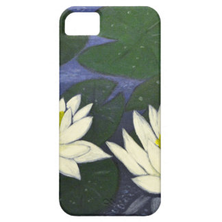 White Waterlily Flowers, Acrylic painting iPhone 5 Cases