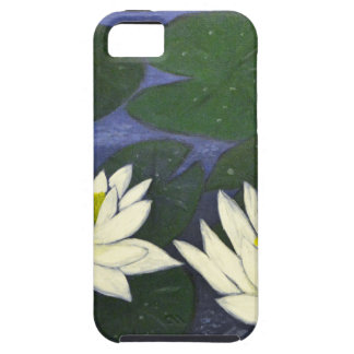 White Waterlily Flowers, Acrylic painting iPhone 5 Covers