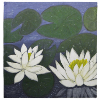White Waterlily Flowers, Acrylic painting Napkin
