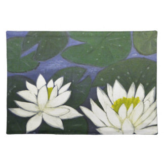 White Waterlily Flowers, Acrylic painting Placemat
