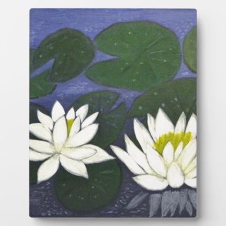 White Waterlily Flowers, Acrylic painting Plaque
