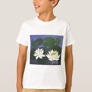 White Waterlily Flowers, Acrylic painting T-Shirt