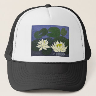 White Waterlily Flowers, Acrylic painting Trucker Hat