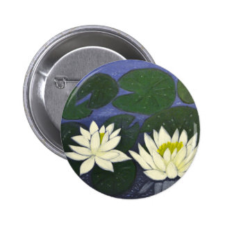 White Waterlily Flowers in a Pond. 2 Inch Round Button