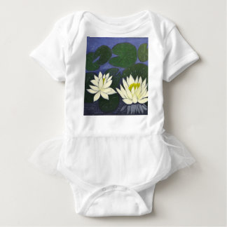 White Waterlily Flowers in a Pond. Baby Bodysuit