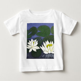 White Waterlily Flowers in a Pond. Baby T-Shirt