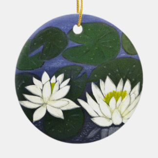 White Waterlily Flowers in a Pond. Ceramic Ornament