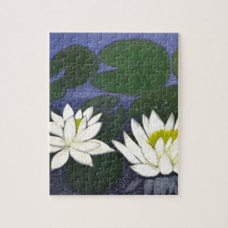 White Waterlily Flowers in a Pond. Jigsaw Puzzle