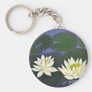 White Waterlily Flowers in a Pond. Keychain