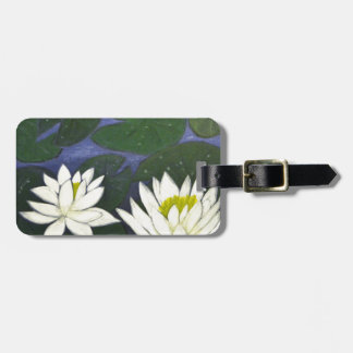 White Waterlily Flowers in a Pond. Luggage Tag