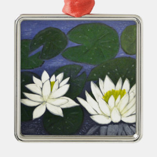 White Waterlily Flowers in a Pond. Metal Ornament