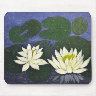 White Waterlily Flowers in a Pond. Mouse Pad
