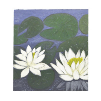 White Waterlily Flowers in a Pond. Notepad