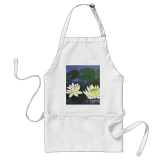 White Waterlily Flowers in a Pond. Standard Apron