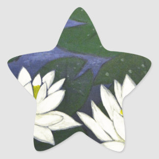 White Waterlily Flowers in a Pond. Star Sticker