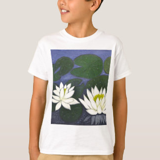 White Waterlily Flowers in a Pond. T-Shirt