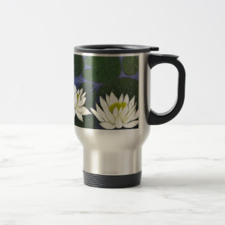 White Waterlily Flowers in a Pond. Travel Mug