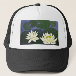 White Waterlily Flowers in a Pond. Trucker Hat
