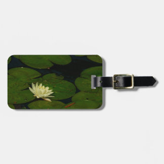 White Waterlily I Peaceful Floral Photography Bag Tag