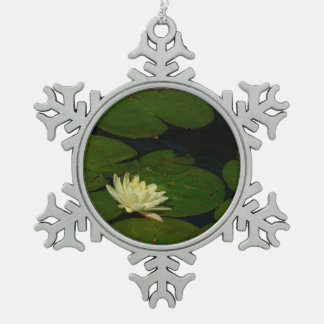 White Waterlily I Peaceful Floral Photography Snowflake Pewter Christmas Ornament