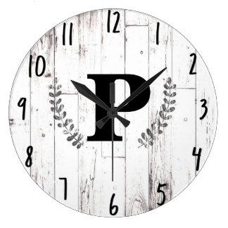 White Weathered Wood Rustic Farmhouse Barn Kitchen Large Clock