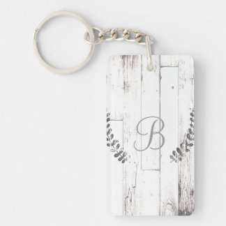 White Weathered Wood Rustic Farmhouse Botanical Keychain