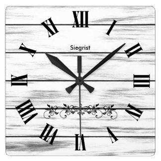 White Weathered Wood Style Clock | Zazzle