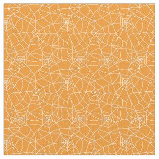 White web spiders pattern on orange background fabric