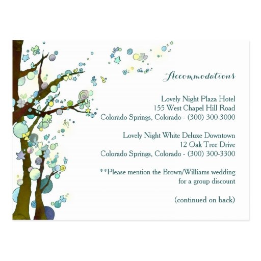 White Wedding Accommodation, Transportation Cards Postcards