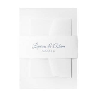 White Wedding Belly Band / Wrap   Dusty Blue Invitation Belly Band