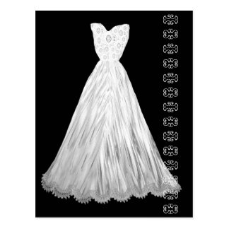 White Wedding Dress with Lace Accent Postcard