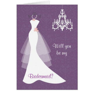 White wedding gown chandelier on purple Bridesmaid Card